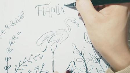 忠贞爱情的楷模《火烈鸟》小清新装饰简笔画,原来这么简单,适合北欧,ins家装风格,超简单
