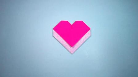 手工折纸,口袋爱心的折法,1分多钟就能学会,简单又漂亮