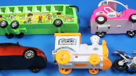 儿童系列玩具车和儿童玩具巴士汽车视频