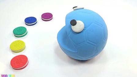 用太空沙彩泥做大球球吃彩色夹心饼干儿童玩具动画