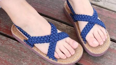 雅馨绣坊鞋面交叉凉鞋中国结线手编居家凉鞋编织视频教程最简单编织方法