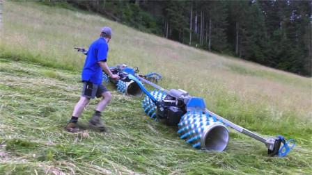 老外发明除草神器,一推横扫 一大片,还能两台拼接使用日入上万