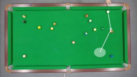 台球教学:一杆清台教学第64期,打一杆K一颗,用小范围走位完成清台