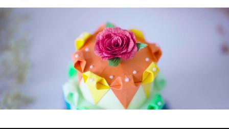 今天教大家折纸彩虹蛋糕,这么好看漂亮,送给同学过生日应该不错!