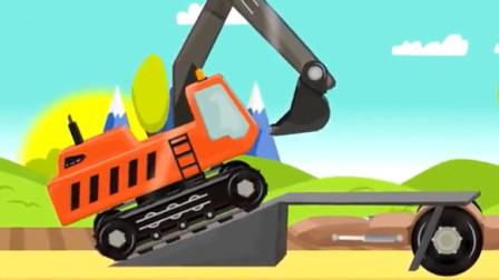 儿童工程车动画 迷你卡车 挖掘机起重机推土机乘坐滑翔伞