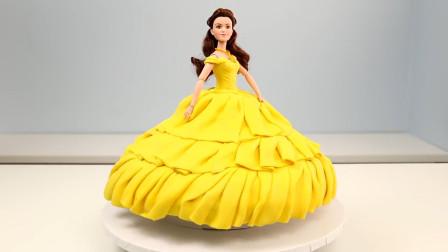 迪士尼最美的贝儿公主翻糖蛋糕做法,送给女儿圆了她的公主梦吧