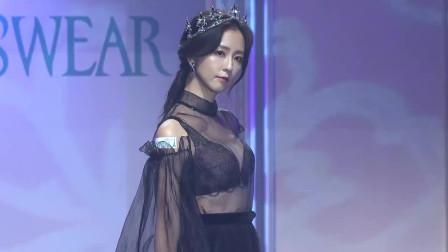 2019思薇雨秋冬全新内衣发布会走秀,黑色蕾丝薄纱,尽显风度翩翩的一面!