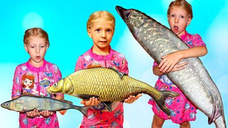 太神奇了!超萌小萝莉抱着好大的鱼呀,这是怎么钓到的呀?