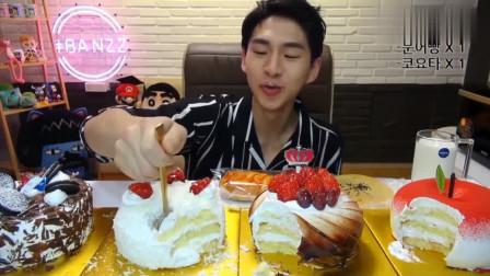 大胃王小哥8寸蛋糕一口气吃4个,这么多奶油不腻吗?