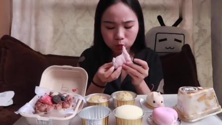 萌妹子吃便当蛋糕、雪媚娘、恐龙蛋和千层蛋糕,造型超可爱的太有