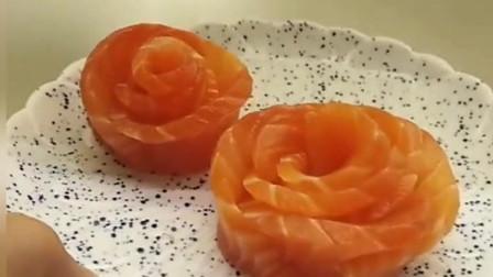 大厨玩转三文鱼,竟然玩出玫瑰花,太厉害了!