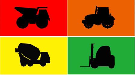 颜色方块里 学习认识自卸卡车 拖拉机等工程车 汽车玩具屋