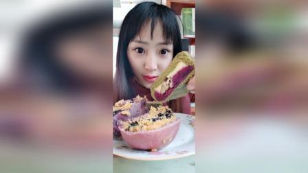 欧包, 紫米辣肉松奶酪的好吃, 那个菠菜紫薯奶酪的一点甜味没有