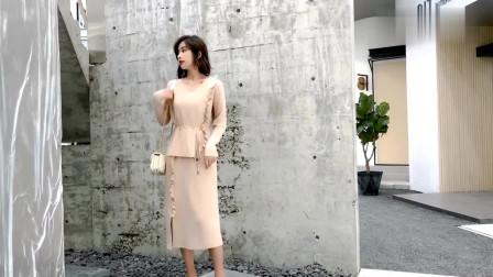 超适合40岁女人的穿搭:木耳边装饰套裙,展现成熟女人味