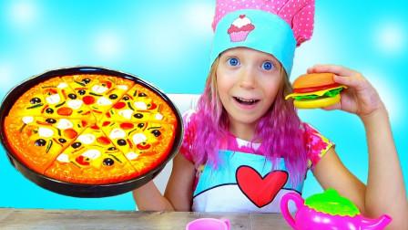 太棒了!小萝莉变成厨师,弄出来的披萨和汉堡客人吃得满意吗?