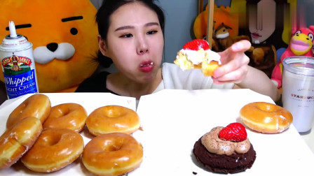 """大胃王吃播:卡妹吃""""奶油草莓甜甜圈"""",吃得真香,真馋人呢"""