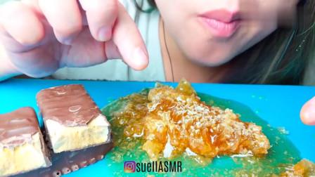 吃播小姐姐,巧克力派,搭配蜂巢蜜,甜腻口感很好吃