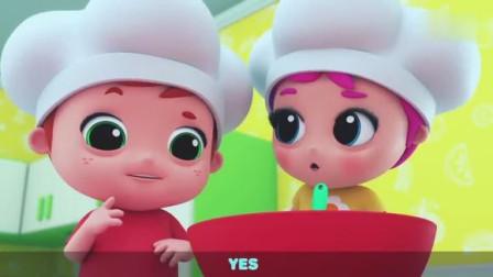 早教英语儿歌 变身小厨师 做美味的十字面包 弟弟不要捣乱哦