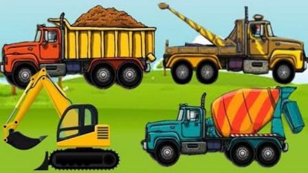 工程车水泥搅拌车吊车大卡车组装拼装 工程车总动员
