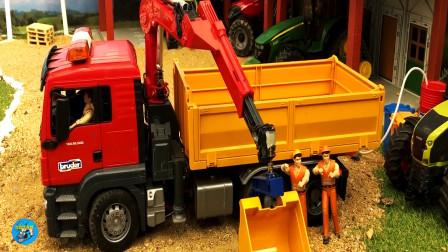 儿童小农场工程车自卸车吊车四轮拖车挖掘机卡车运输车装载车玉米大花牛,儿童玩具