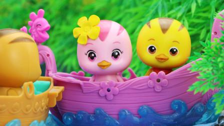 美佳妈妈带萌鸡小队去划船,小鸡们学会了孔融让梨