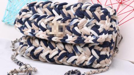毛儿手作-布条线包包钩针包包新手视频教程细线编织花样