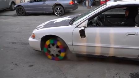 老外用乐高自制汽车轮胎,启动汽车会有什么亮眼的表现?网友:厉害