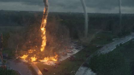 17级风力的超级龙卷风,龙吸水、龙吸土、火龙卷,这部龙卷风题材的灾难电影里面应有尽有