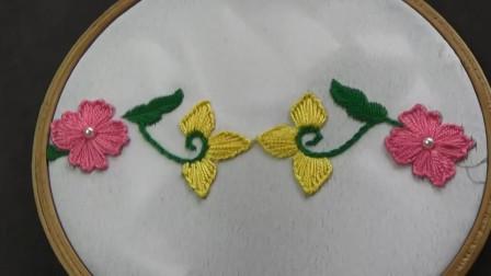 刺绣小妙招,花边图案的刺绣方法,难度2颗星(步骤2-1)