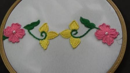 刺绣小妙招,花边图案的刺绣方法,难度2颗星(步骤2-2)