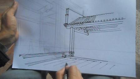 18A班乌家祠建筑写生,WiFi观看流量大!两点透视教学示范视频
