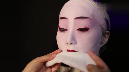 时尚潮流美妆,日本艺伎妆是这么画的,跟刷油漆一样  真是长见识了