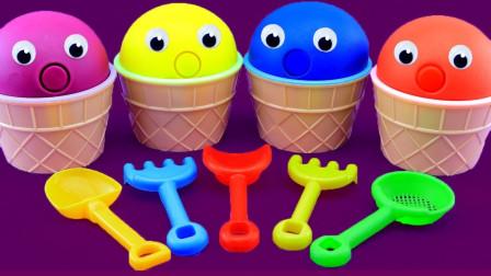 彩泥冰淇淋魔力72变,早教色彩认知萌宝识颜色与数字1-9啦!