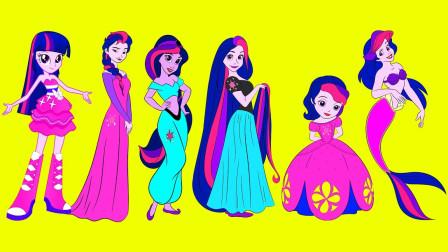 小马宝莉扮演迪士尼公主会是什么样子?原来白雪公主版紫悦好可爱