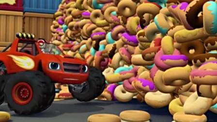 飙速变身为推土机怪兽机器,铲开了甜甜圈,杯子蛋糕墙!