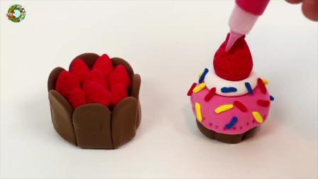 软粘土面包店套件玩具,简单DIY橡皮泥玩具,制作蛋糕, 糖果, 和甜点玩具