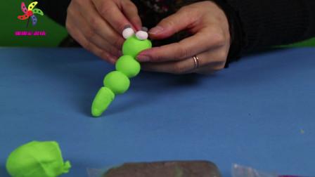 """儿童创意手工教学:手把手教你用彩泥制作可爱的""""毛毛虫""""方法简单,讲解详细"""