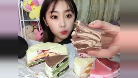 声控吃播小姐姐:这次吃抹茶千层蛋糕,软软的甜甜的是幸福的味道