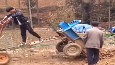 高手在民间,开着手扶拖拉机倒土都这么任性!