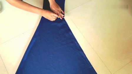 小姐姐手真巧,简单把布料这样改改缝纫下,做好的小洋裙优雅清新!