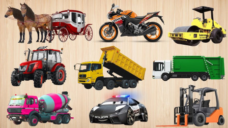 搅拌车压路机垃圾车工程车找位置汽车动画