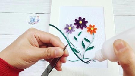 衍纸框画3朵小花 (视频教学)