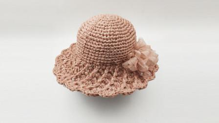 夏季螺旋帽檐夏凉帽钩针编织太阳帽视频教程