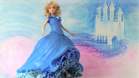 美丽的灰姑娘穿着水晶鞋来啦!原来是个翻糖蛋糕!送给你的女孩吧
