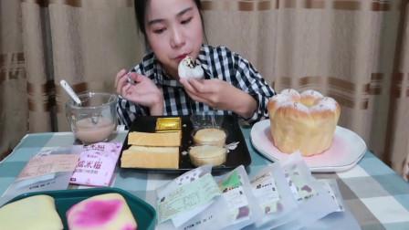 吃播小姐姐,吃爸爸糖+手工吐司+自制奶茶+鲜花饼+雪媚娘