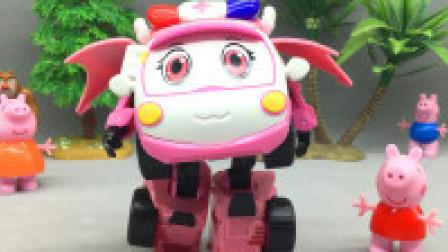 红果果汽车玩具 城市的守护者救护车小芸 警车联盟变形玩具