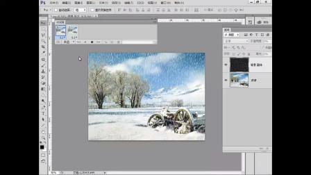 ps动态雪景制作视频:点状像素化调整画面阈值制作简易帧动画