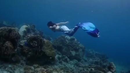 给我的潜水女神拍摄大片,鱼尾的闪点彩真的好美,整的我都心动了