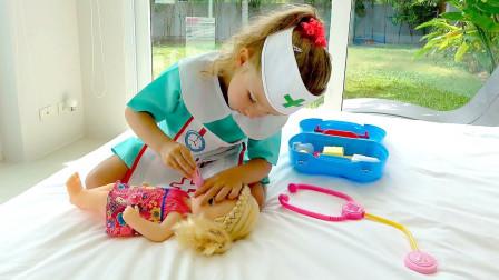 真糟糕!萌宝居然生病了,超萌小萝莉护士会怎么做呢?