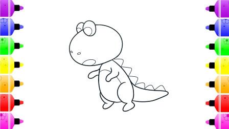 儿童简笔画 一起学画可爱的恐龙简笔画 宝宝早教启蒙